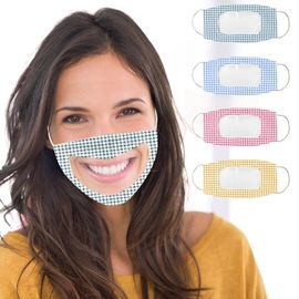 Reusable PET cloth visible mouth mask lip language face mask for deaf dumb people